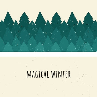 Magical winter. vector illustration. forest of trees. flat style