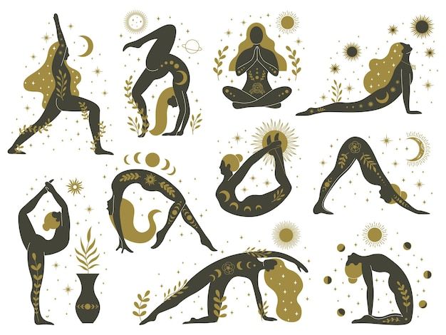 Magical yoga women. mystical esoteric female silhouettes, minimalist meditating girlss set