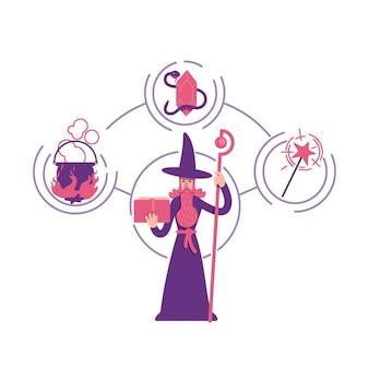 Magician archetype flat concept illustration
