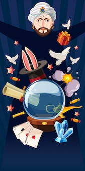 Magician artist background horizontal, cartoon style