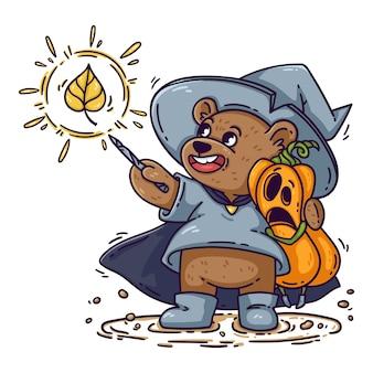 魔女の帽子、レインコート、ブーツを履いた魔術師のクマが、ハロウィーンのショックを受けたカボチャを抱きしめます。ウィザードは魔法の杖で呪文を唱えます。面白い子供は、ポスター、カードのために、白い背景で隔離。