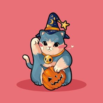마술사 고양이 마녀 재미 있은 귀여운 할로윈 의상