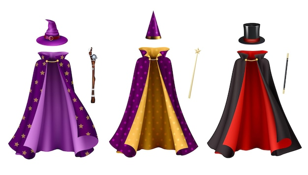 Magician clothes realistic set isolated illustration