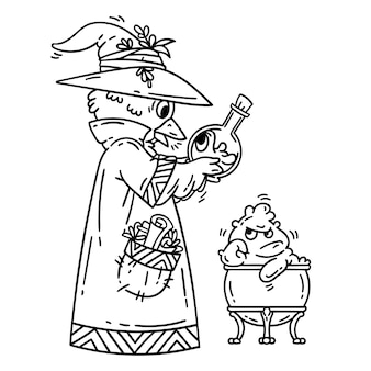 Magician creating cute monsters. alchemist.