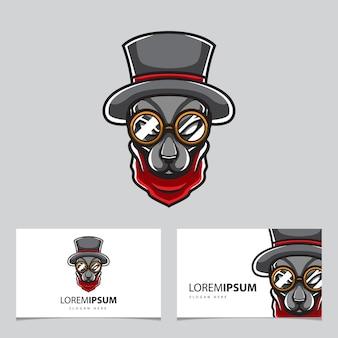 Логотип талисмана головы собаки волшебника
