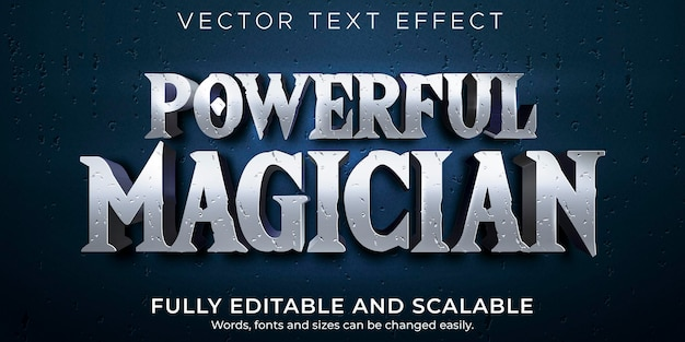 Effetto di testo modificabile da mago, stile di testo storico e guidato Vettore gratuito