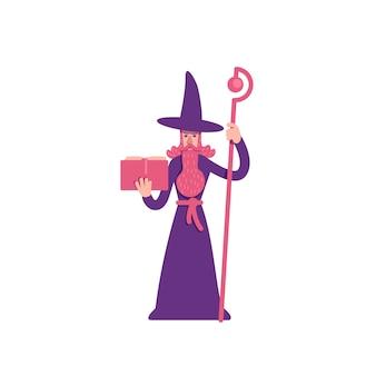 마술사 플랫 컬러 캐릭터