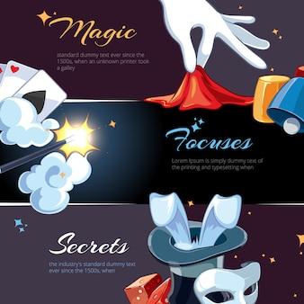 Magician hand drawn banner