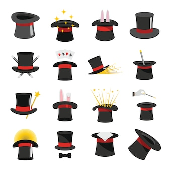 Magician hat sorcery icons set