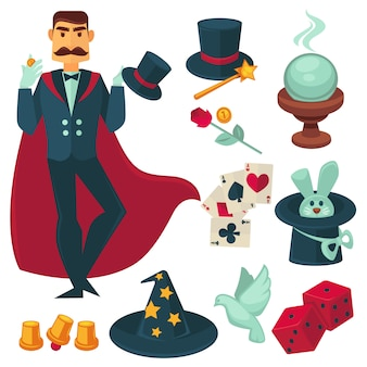 Magician holding golden coin. vector illustration.