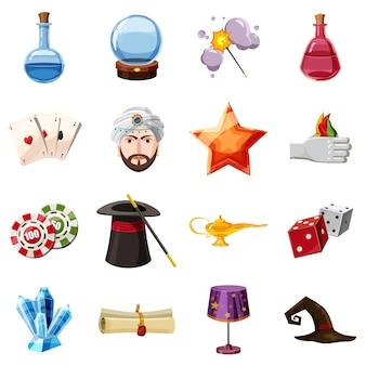 Фокусник иконки набор предметов. мультфильм иллюстрация 16 предметов мага векторных иконок для веб