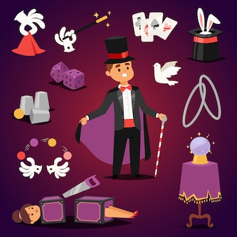 Magician illusionist  set.