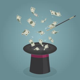 Маг делает волшебный трюк за то, что деньги вылетают из волшебной шляпы.