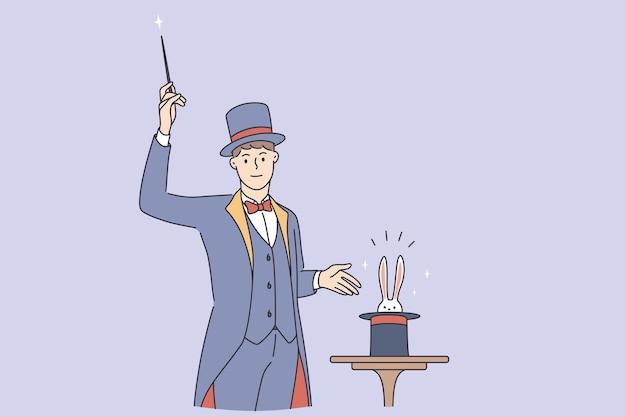 Волшебник делает трюк во время работы концепции