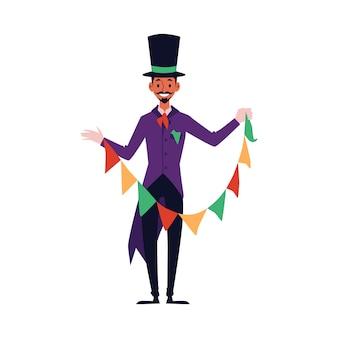 Человек-волшебник в фиолетовом костюме и цилиндре с гирляндой из разноцветных флагов для волшебного трюка - счастливый мультипликационный персонаж готовится и улыбается, иллюстрация