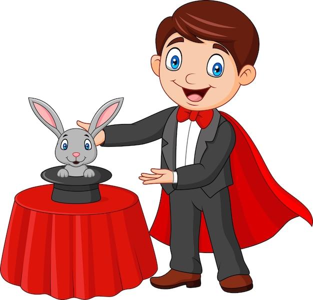 마술 모자에서 나타나는 그의 트릭 토끼를 수행하는 마술사