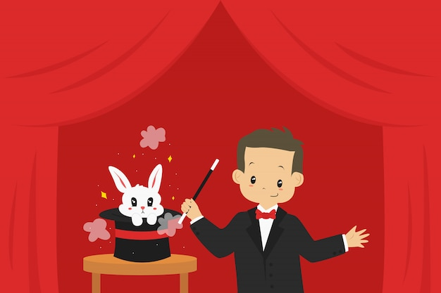 Magician performing magic trick, and a rabbit popping out from a hat, illustration.