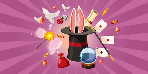Magician rabbit background horizontal, cartoon style