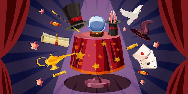 Magician table background horizontal, cartoon style