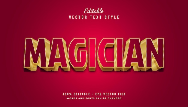엠보싱 효과가있는 빨간색과 금색의 마술사 텍스트 스타일