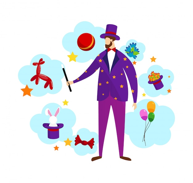 Magician wearing costume and top hat holding wand.