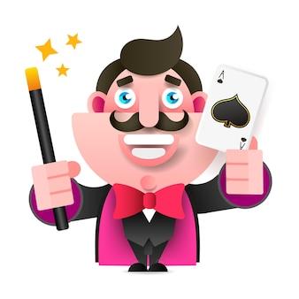 手に魔法の杖とカードを持つマジシャン白い背景のベクトル図