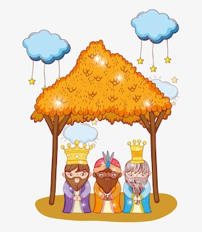 マジシャン3人の王がクラウンとマージャーを着て Premiumベクター