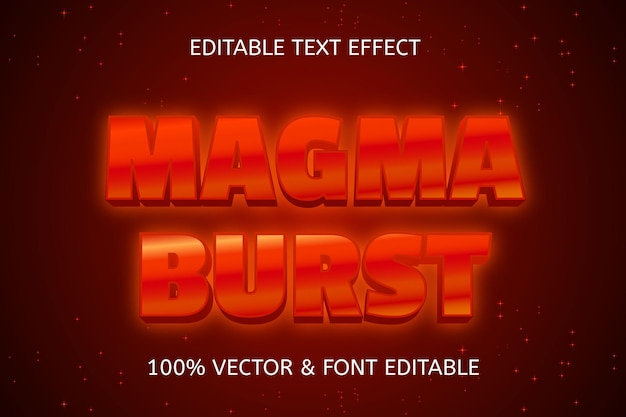 Magma burst style neon editable text effect