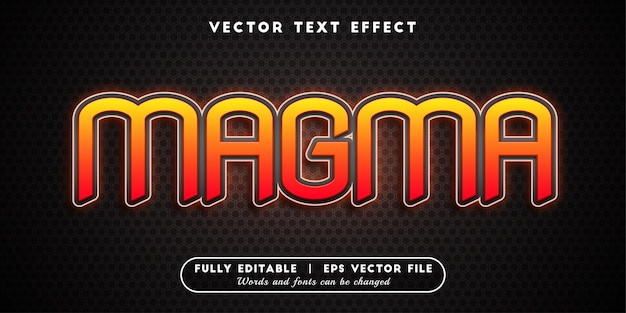 Magma text effect, editable text style