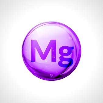 마그네슘 미네랄. 광택 드롭 알약 캡슐. 식이 의료 미네랄 보충제.
