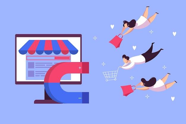 자석은 고객 웹 개념을 유치합니다. 비즈니스 마케팅