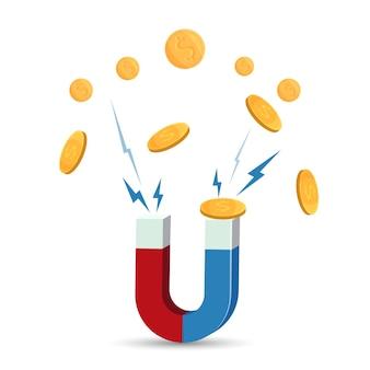 Магнит привлекает золотые монеты векторные иллюстрации, изолированные на белом. концепция бонусных денег, привлечение богатства и дизайн логотипа прибыли