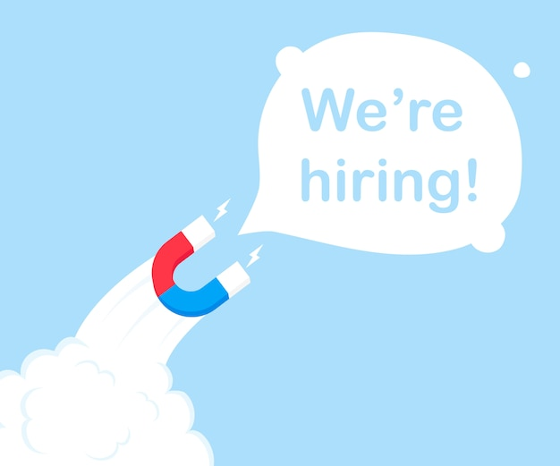 A magnet in the form of a rocket attracting we're hiring! modern flat style illustration