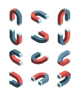 マグネットアイソメトリック。磁気接続シンボルコレクションセットの鉄アイテム。