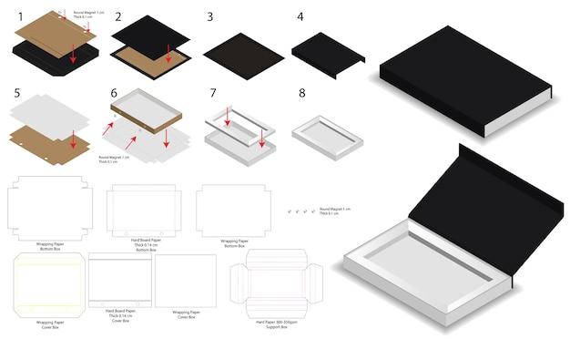 Dieline와 자석 자물쇠 단단한 상자 3d 모형