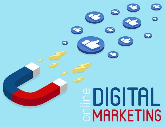 아이소 메트릭 스타일의 자석 마케팅 배너입니다. 온라인 소셜 미디어 마케팅 개념. 소셜 네트워크의 광고 캠페인. 아이소 메트릭 인포 그래픽. 고객 유지 전략.