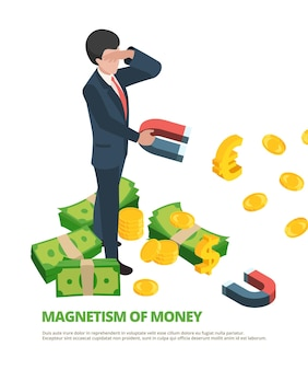 マグネットマネー。ビジネス接続金融ドル磁気等尺性の概念。