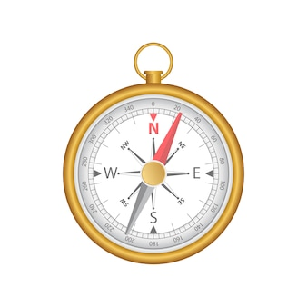Magnetic compass illustration isolated on white