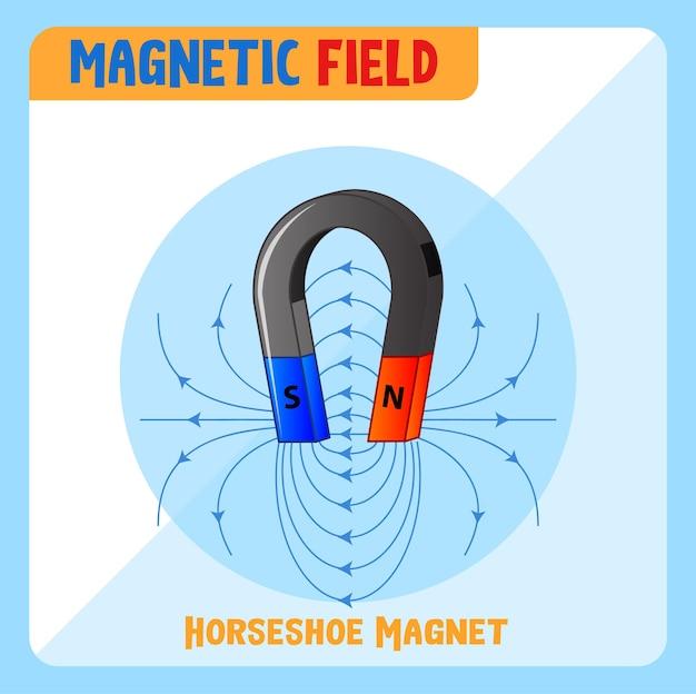 Campo magnetico del magnete a ferro di cavallo