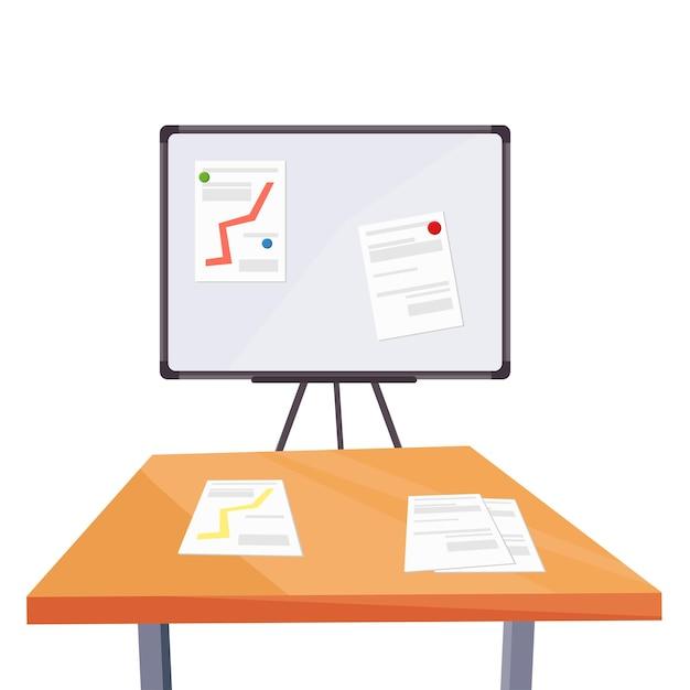 그래프와 책상이 있는 마그네틱 마커 보드. 비즈니스 개념입니다. 벡터 만화 그림입니다.