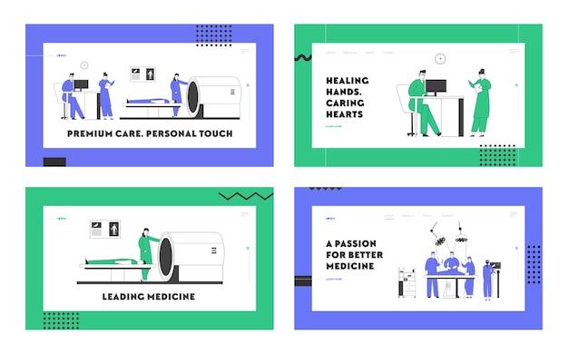 Магнитно-резонансная томография и работа хирурга в наборе целевой страницы веб-сайта больницы.