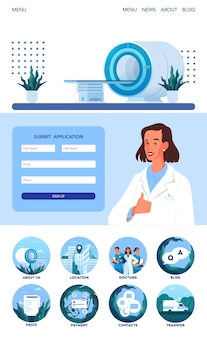 Magnetic resonance imaging application page. medical research and diagnosis. modern tomographic scanner. mri clinic app interface with icon idea.