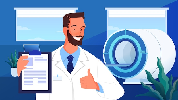 Magnetic resonance imaging. medical research and diagnosis. modern tomographic scanner. mri clinic advert banner or website header, banner idea.