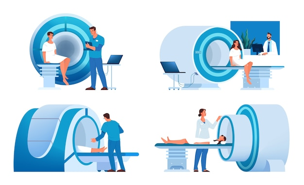 Magnetic resonance imaging. medical research and diagnosis. modern tomographic scanner. mri construction.