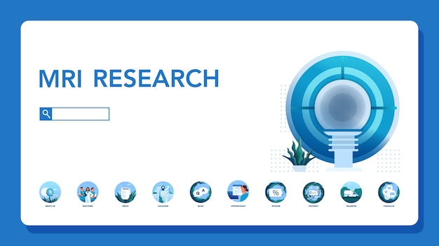 Magnetic resonance imaging website header. medical research and diagnosis. modern tomographic scanner. mri clinic web banner or website interface idea.