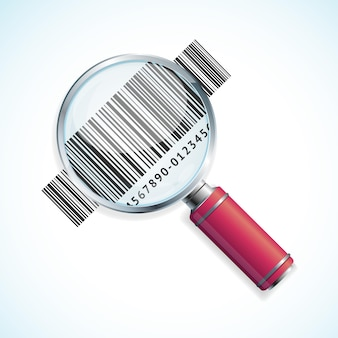 Magnifier and barcode isolated. business symbol