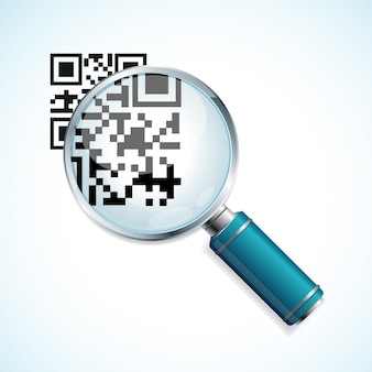 Magnifier and black qr code identification isolated