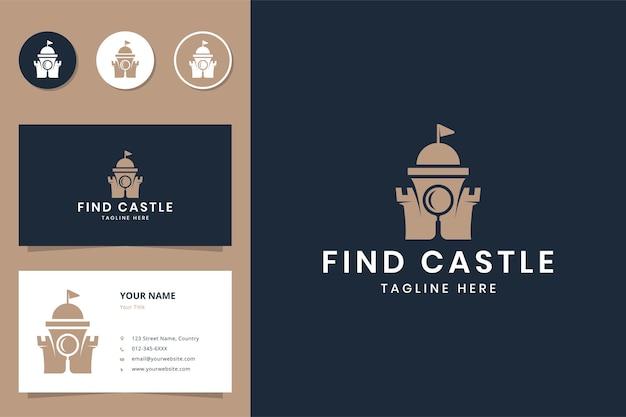 Magnifier castle negative space logo design