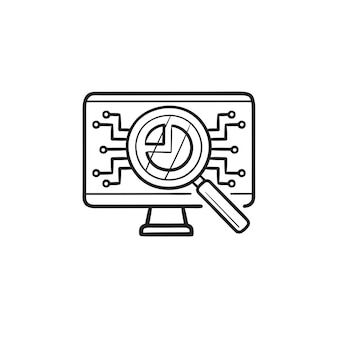 Magnifier monitoring data on computer hand drawn outline doodle icon. ai research, data analyzer concept. vector sketch illustration for print, web, mobile and infographics on white background.