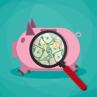 Magnifier on a pink piggy bank and see money cash dollars gold coins